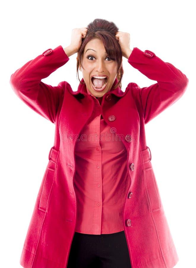 Download Indiańska Młoda Kobieta Ciągnie Jej Włosy I Krzyczy W Frustraci Obraz Stock - Obraz złożonej z widok, rozpaczający: 41950449