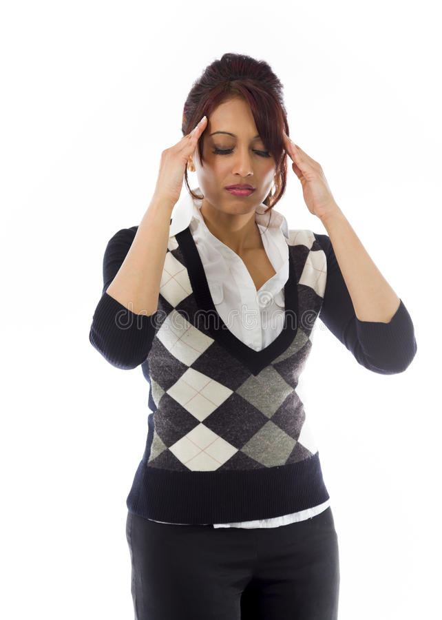 Download Indiańska Młoda Kobieta Dotyka Jej Głowę Na Białym Tle Obraz Stock - Obraz złożonej z potomstwa, kontemplacja: 41950919