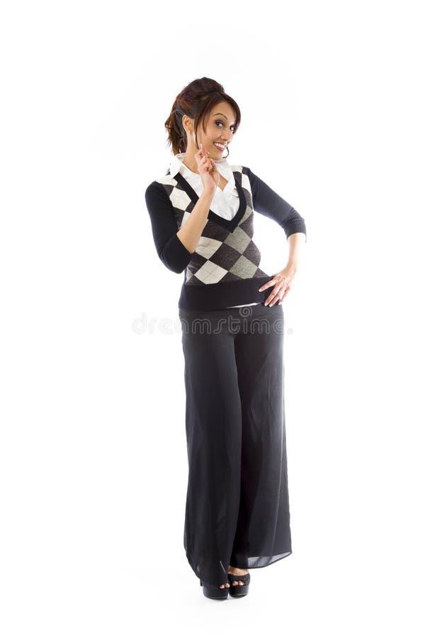 Download Indiańska Młoda Kobieta Krzyżuje Ona Palców Ono Uśmiecha Się Zdjęcie Stock - Obraz złożonej z zawartość, szczęście: 41951016