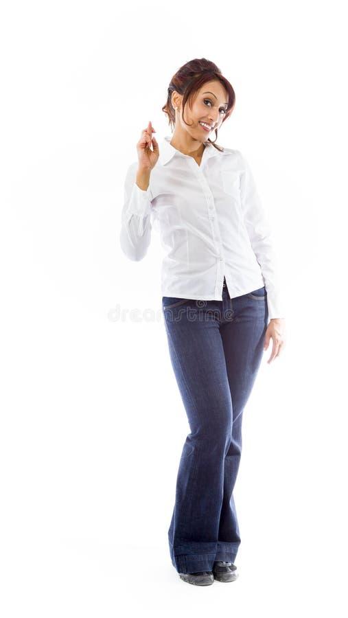 Download Indiańska Młoda Kobieta Krzyżuje Ona Palców Ono Uśmiecha Się Zdjęcie Stock - Obraz złożonej z kolor, długość: 41951124