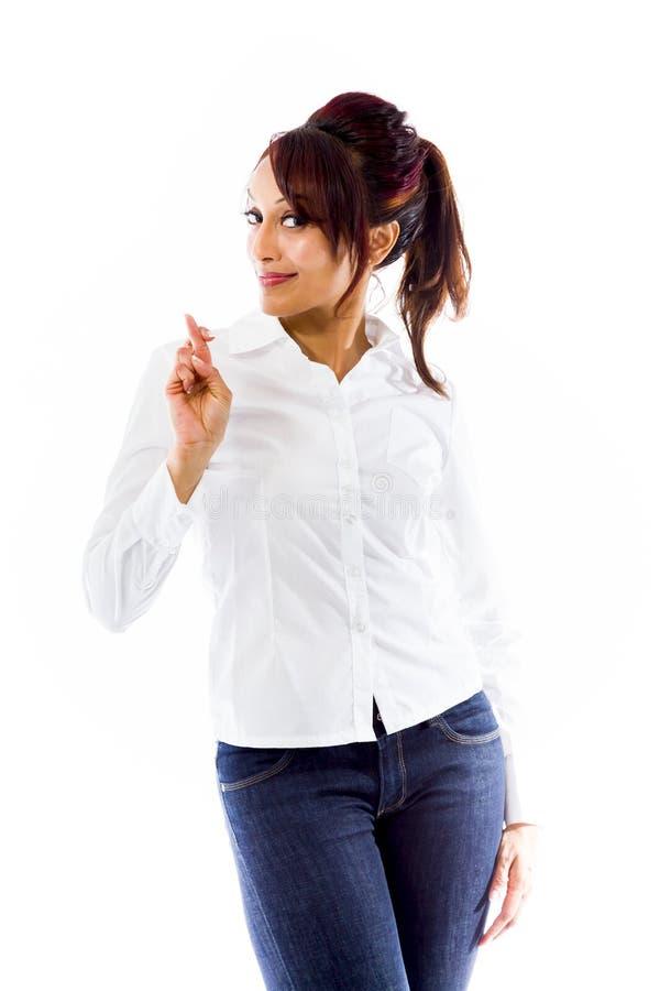 Download Indiańska Młoda Kobieta Krzyżuje Ona Palce Obraz Stock - Obraz złożonej z widok, palec: 41951237