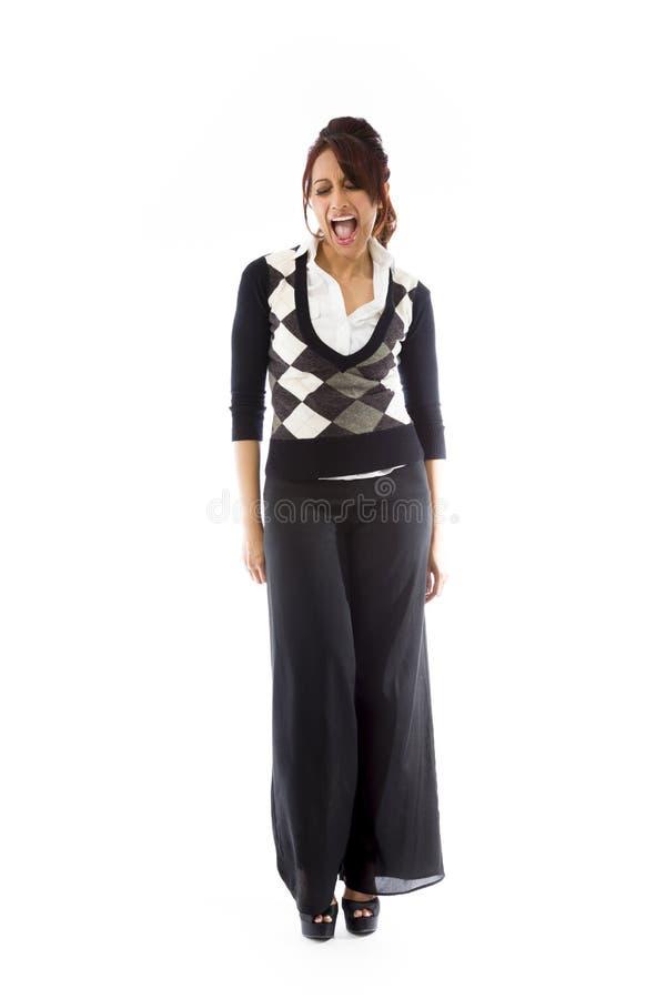 Download Indiańska Młoda Kobieta Krzyczy W Podnieceniu Zdjęcie Stock - Obraz złożonej z etnocentryzm, długość: 41951026
