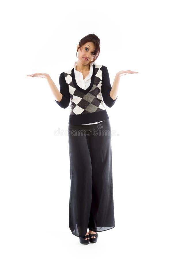 Download Indiańska Młoda Kobieta No Zna Czego Robić Odosobnionemu Na Białym Tle Obraz Stock - Obraz złożonej z studio, kolor: 41951041