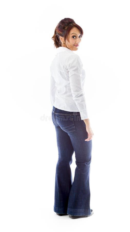 Download Indiańska Młoda Kobieta Obraca Z Powrotem Odizolowywający Na Białym Tle Obraz Stock - Obraz złożonej z hindus, strona: 41951155