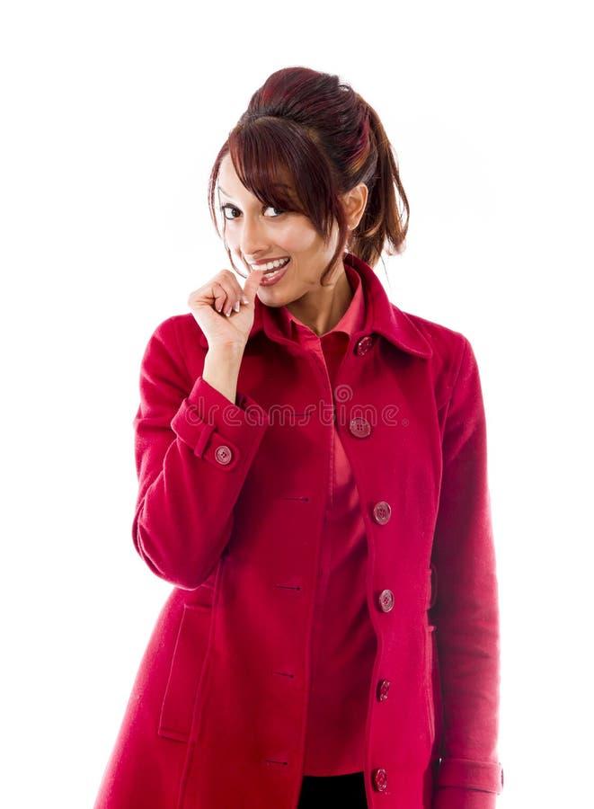 Download Indiańska Młoda Kobieta Ono Uśmiecha Się Z Palcem W Usta Obraz Stock - Obraz złożonej z potomstwa, strzał: 41950295