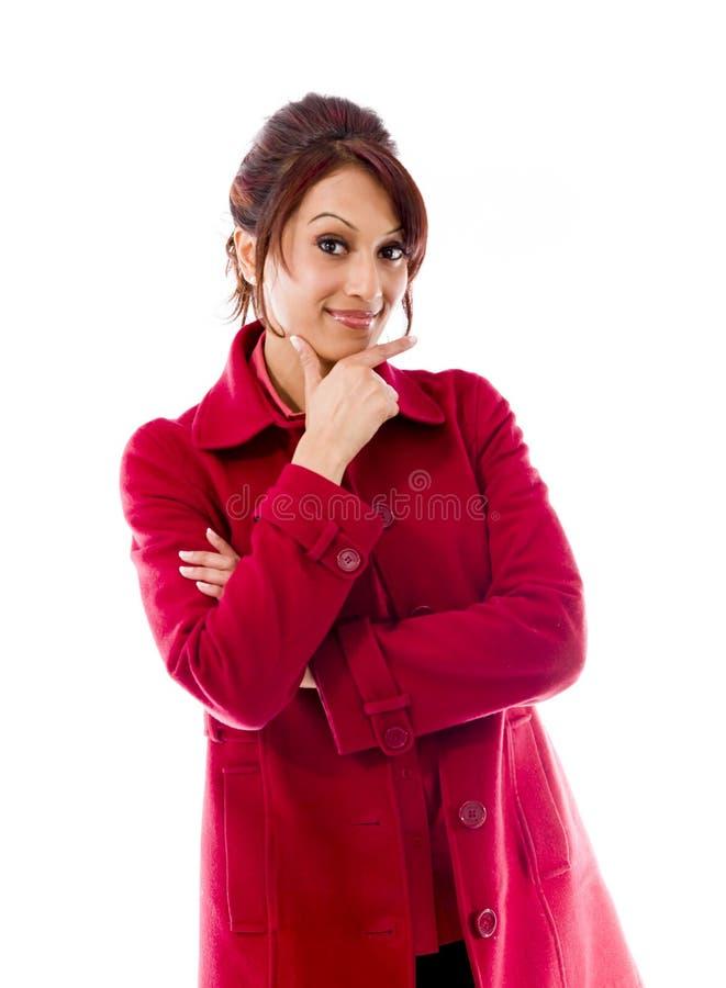 Download Indiańska Młoda Kobieta Ono Uśmiecha Się Z Ręką Na Podbródku Obraz Stock - Obraz złożonej z biały, selekcyjny: 41950287