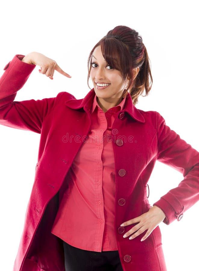 Download Indiańska Młoda Kobieta Ono Wskazuje Zdjęcie Stock - Obraz złożonej z cięcie, niezrównoważenie: 41950336