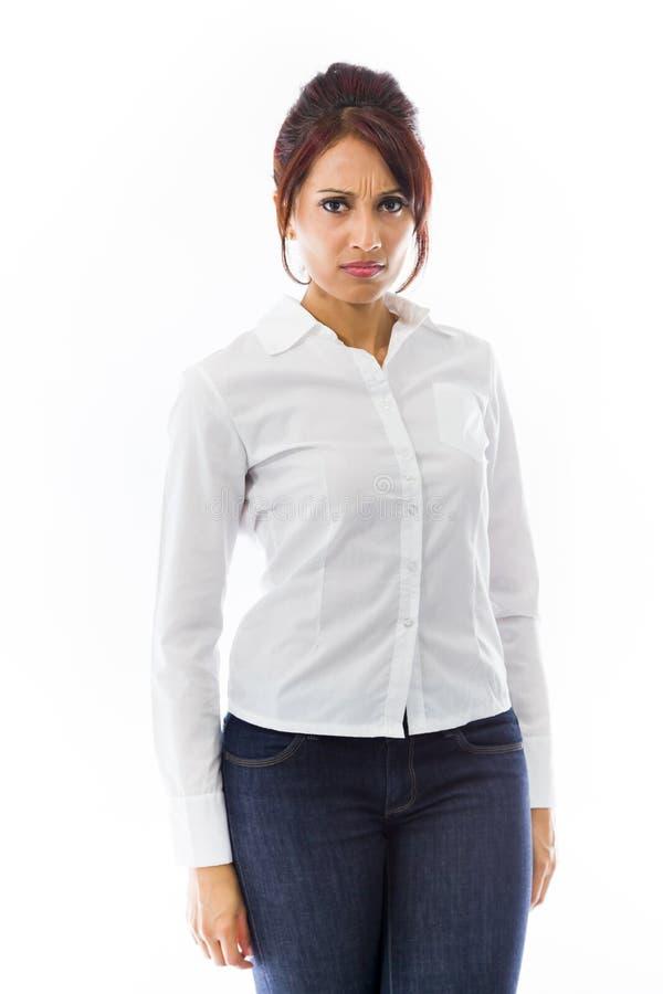 Download Indiańska Młoda Kobieta Patrzeje Gniewny Obraz Stock - Obraz złożonej z postawa, jeden: 41951413