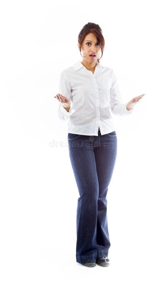 Download Indiańska Młoda Kobieta Patrzeje Szokujący Obraz Stock - Obraz złożonej z jeden, kobieta: 41951193
