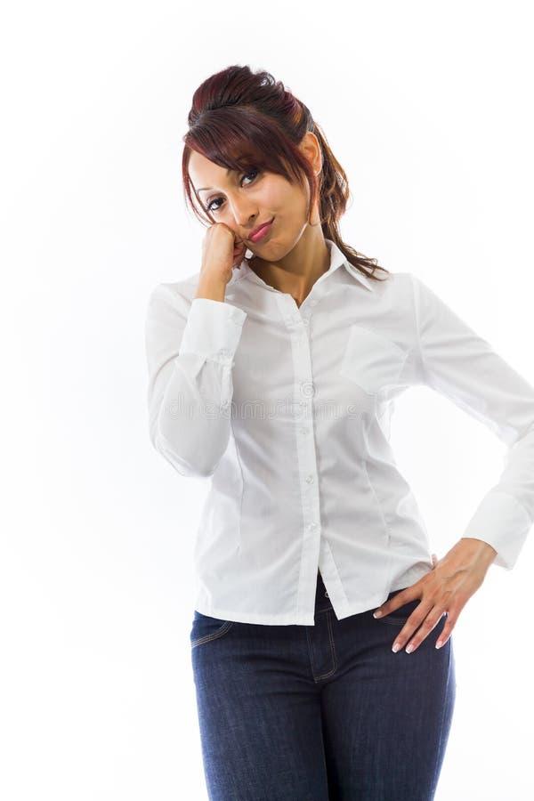 Download Indiańska Młoda Kobieta Patrzeje Zanudzający Obraz Stock - Obraz złożonej z negatyw, podbródek: 41951255