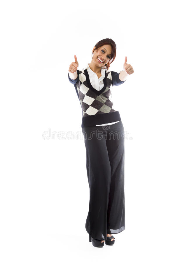 Download Indiańska Młoda Kobieta Pokazuje Aprobaty Od Oba Ręk Odizolowywać Na Białym Tle Obraz Stock - Obraz złożonej z dorosły, kolor: 41951081