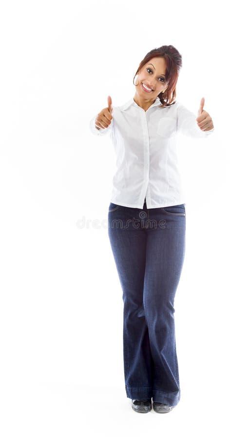 Download Indiańska Młoda Kobieta Pokazuje Aprobaty Od Oba Ręk Odizolowywać Na Białym Tle Obraz Stock - Obraz złożonej z tło, potomstwa: 41951205
