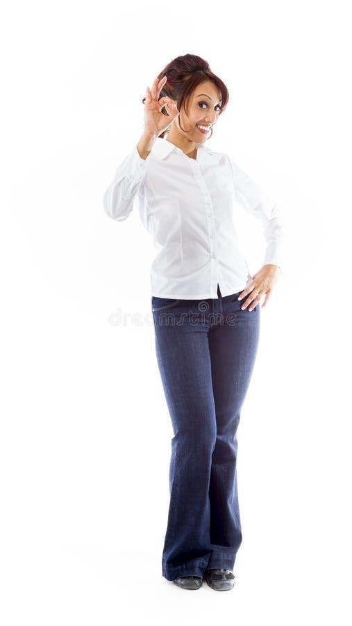 Download Indiańska Młoda Kobieta Pokazuje Ok Znaka Odizolowywającego Na Białym Tle Zdjęcie Stock - Obraz złożonej z azjata, tylko: 41951178