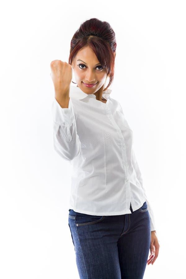 Download Indiańska Młoda Kobieta Pokazuje Pięść Odizolowywającą Na Białym Tle Zdjęcie Stock - Obraz złożonej z studio, widok: 41951260