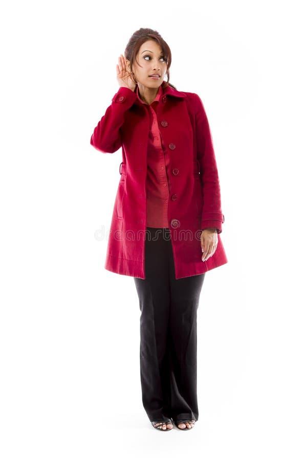 Download Indiańska Młoda Kobieta Próbuje Słuchać Obraz Stock - Obraz złożonej z ciekawość, cięcie: 41950285