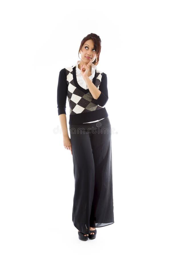 Download Indiańska Młoda Kobieta Przyglądająca Z Palcem Na Podbródku Odizolowywającym Na Białym Tle Up Obraz Stock - Obraz złożonej z fotografia, pozytyw: 41951039