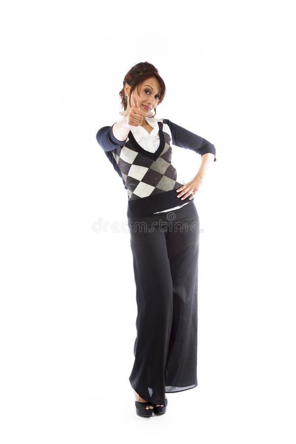 Download Indiańska Młoda Kobieta Robi Aprobatom Podpisuje Pozycję Z Ręką Na Biodrze Zdjęcie Stock - Obraz złożonej z studio, tylko: 41951038