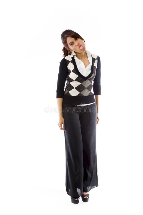 Download Indiańska Młoda Kobieta Szturcha Out Jęzor W Kierunku Kamery Odizolowywającej Na Białym Tle Obraz Stock - Obraz złożonej z kobieta, tło: 41951093