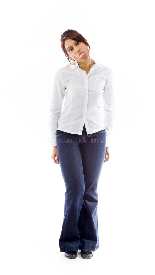 Download Indiańska Młoda Kobieta Szturcha Out Jęzor W Kierunku Kamery Odizolowywającej Na Białym Tle Obraz Stock - Obraz złożonej z przypadkowy, 1: 41951213