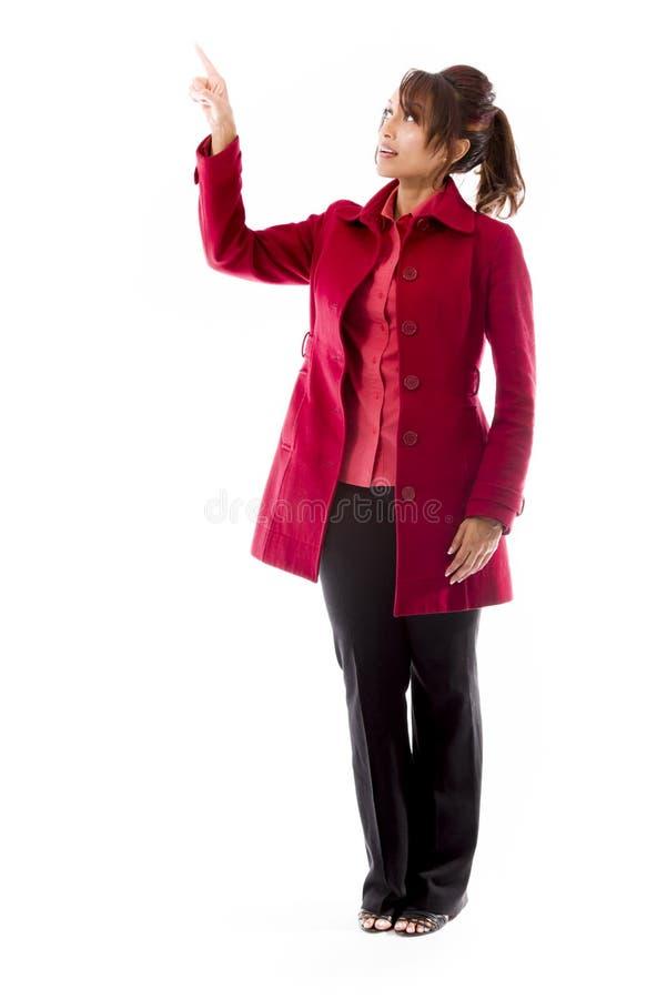 Download Indiańska Młoda Kobieta Udaje Pracować Na Dotyka Ekranie Zdjęcie Stock - Obraz złożonej z innowacja, przód: 41950178