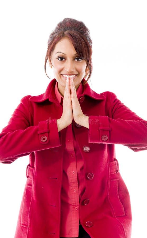 Download Indiańska Młoda Kobieta Wita Z Rękami łączyć Obraz Stock - Obraz złożonej z wita, gratyfikacja: 41950461