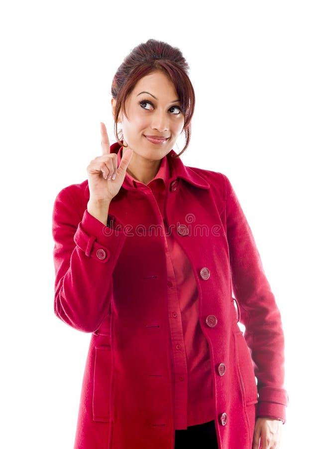 Download Indiańska Młoda Kobieta Wskazuje Palcowy Oddolnego Zdjęcie Stock - Obraz złożonej z komunikacja, wyobraźnie: 41950292