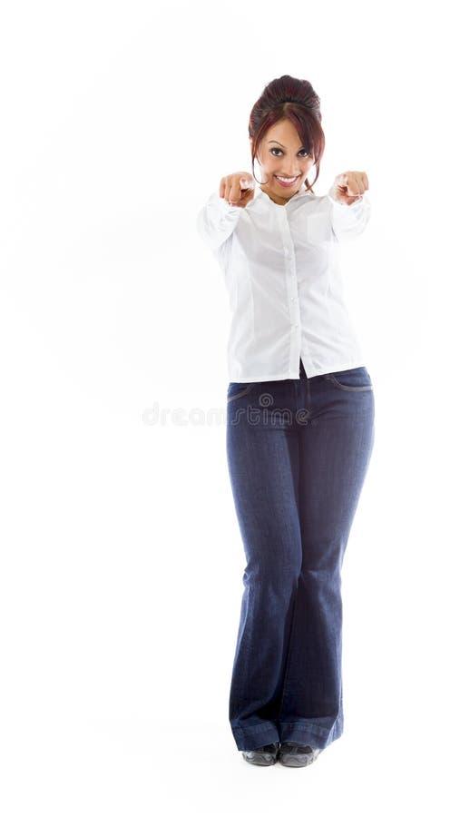 Download Indiańska Młoda Kobieta Wskazuje Przy Tobą Od Oba Ręk Odizolowywać Na Białym Tle Obraz Stock - Obraz złożonej z azjata, koszula: 41951207