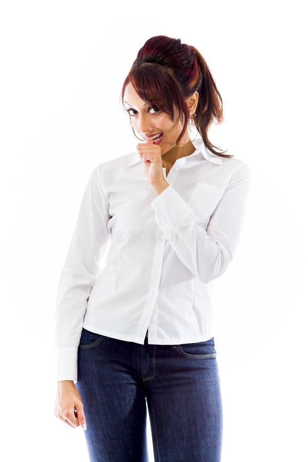 Download Indiańska Młoda Kobieta Z Kciukami W Usta Odizolowywającym Na Białym Tle Obraz Stock - Obraz złożonej z zaufanie, szczęście: 41951239