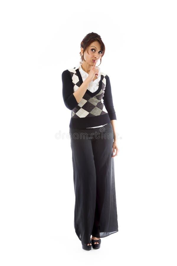 Download Indiańska Młoda Kobieta Z Palcem Na Wargi Przyglądający Up Obraz Stock - Obraz złożonej z niezrównoważenie, target30: 41951037