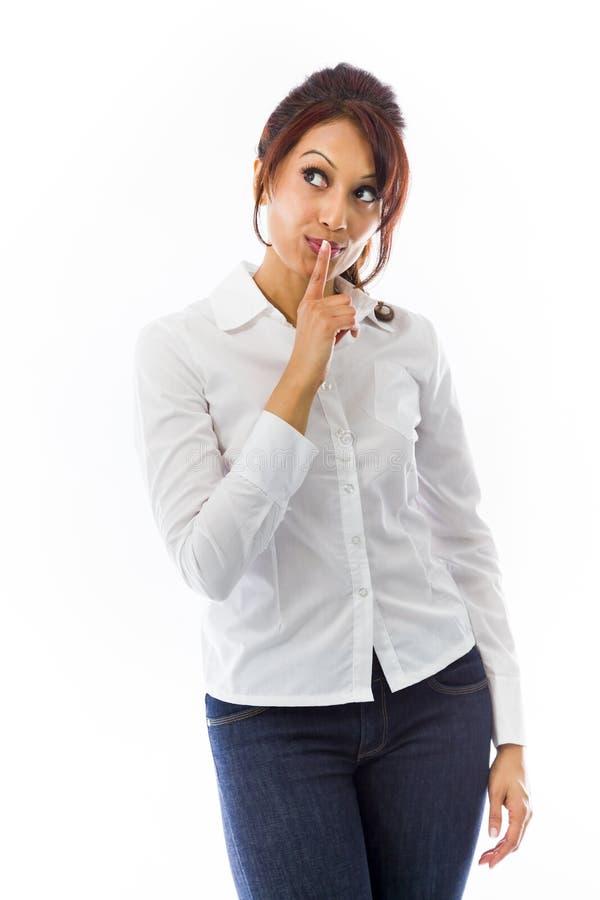 Download Indiańska Młoda Kobieta Z Palcem Na Wargi Przyglądający Up Zdjęcie Stock - Obraz złożonej z widok, palec: 41951266