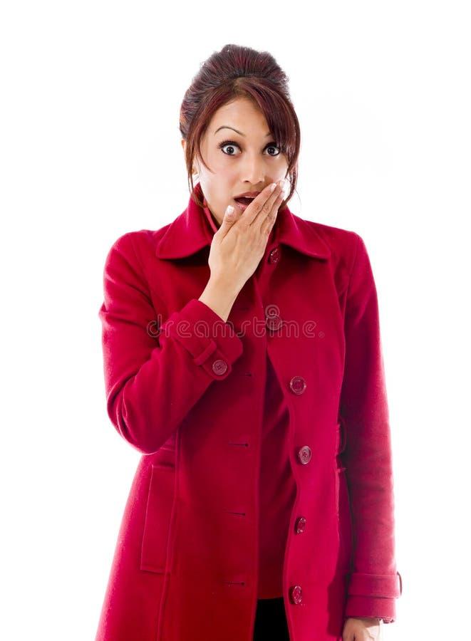 Download Indiańska Młoda Kobieta Z Szokującym Wyrażeniem Odizolowywającym Na Białym Tle Obraz Stock - Obraz złożonej z facial, otwarty: 41950303