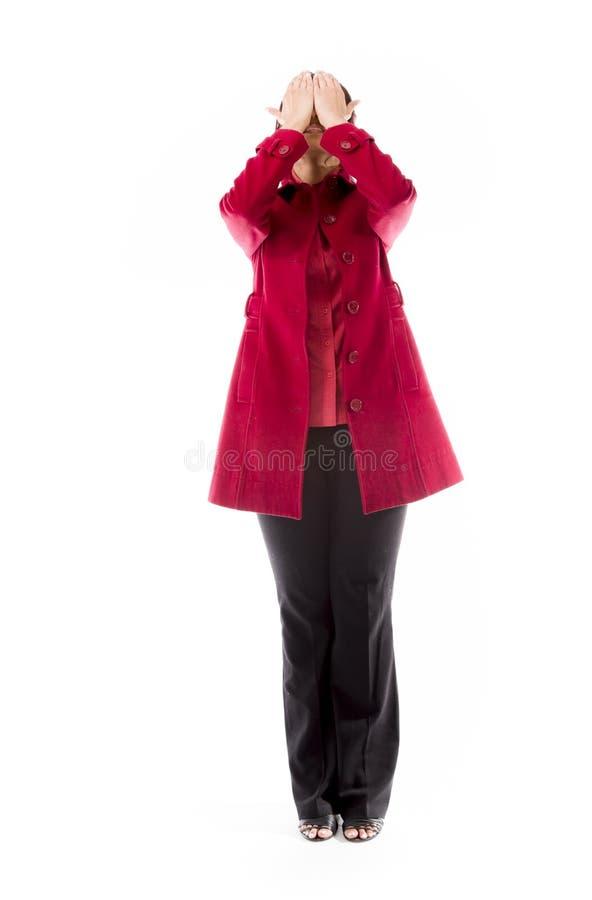 Download Indiańska Młoda Kobieta Zakrywa Jej Twarz Z Ona Ręki Obraz Stock - Obraz złożonej z tło, studio: 41950251