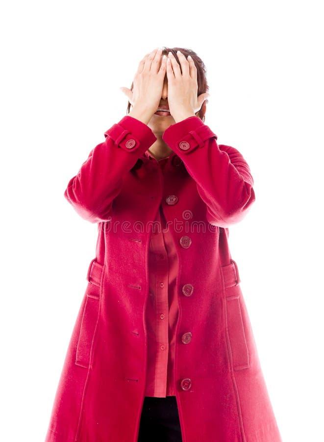 Download Indiańska Młoda Kobieta Zakrywa Jej Twarz Z Ona Ręki Zdjęcie Stock - Obraz złożonej z hindus, czerwień: 41950414