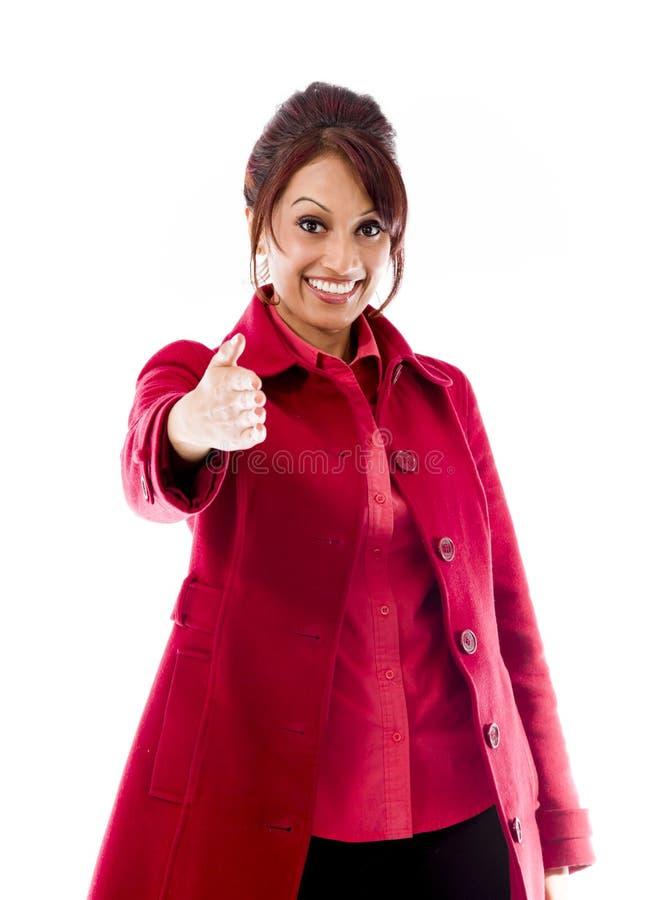 Download Indiańska Młodej Kobiety Ofiary Ręka Dla Uścisku Dłoni Obraz Stock - Obraz złożonej z kolor, przód: 41950329