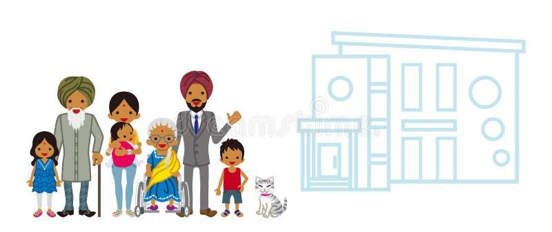 Indiańska pokolenie rodzina z siedzibą ilustracja wektor
