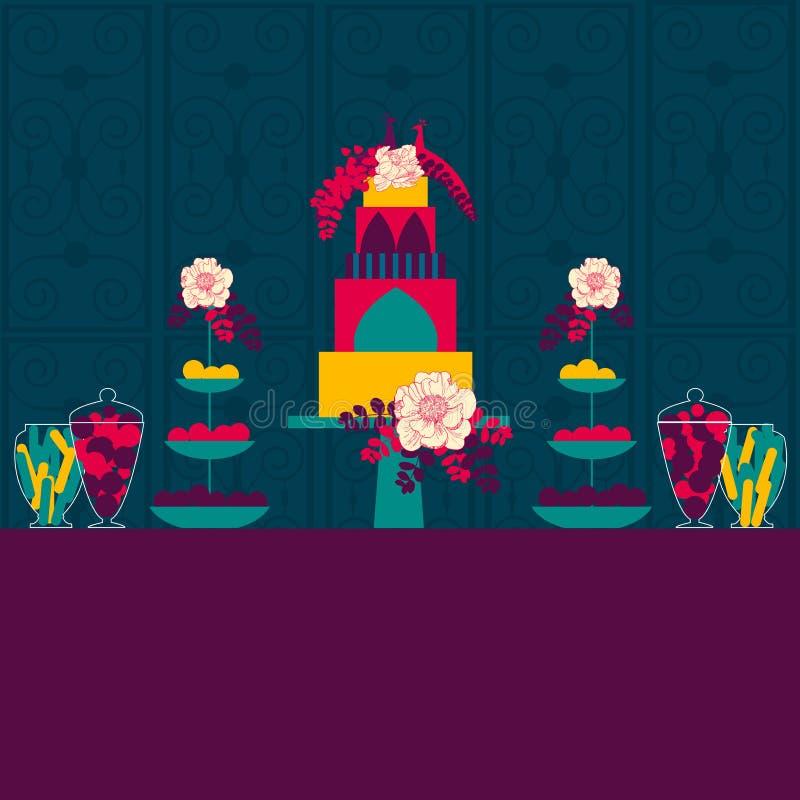Indiański ślub Ślubny słodki tablle Cukierku bufet Tort i p royalty ilustracja