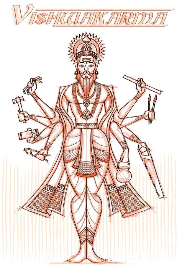 Indiański bóg Vishwakarma w szkicowym spojrzeniu ilustracji