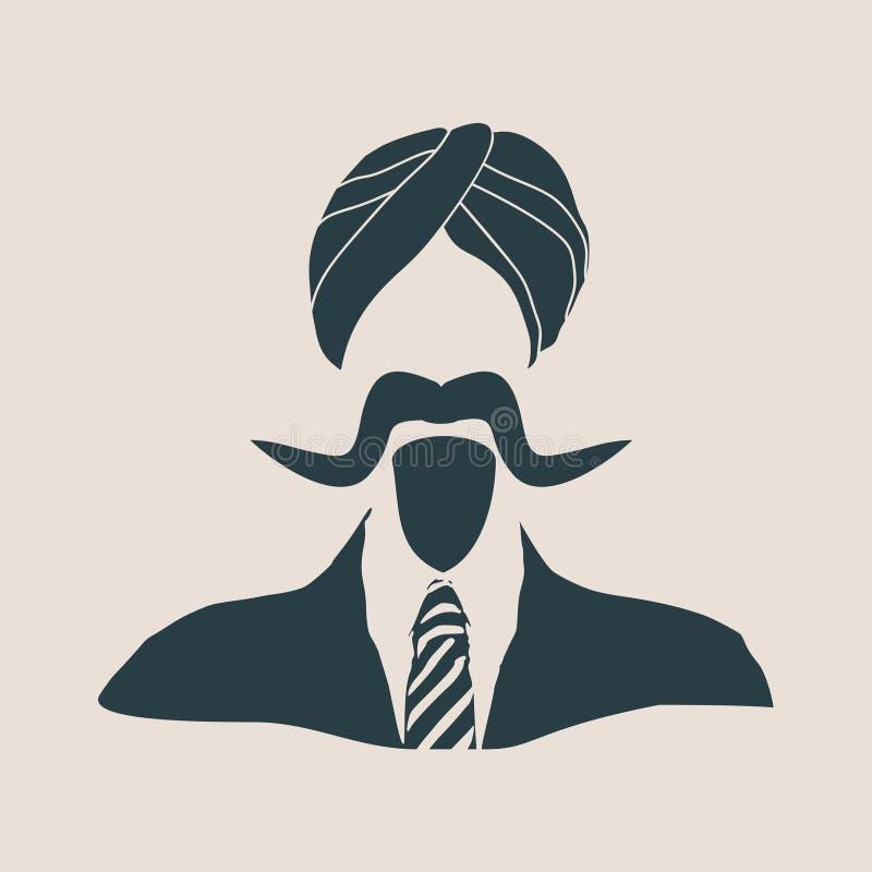 Indiański biznesmen w krajowym turbanie ilustracji