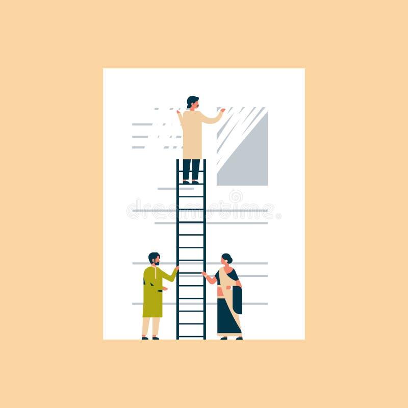 Indiański biznesmen wymazuje informacja dane jasnego pojęcia biznesowego mężczyzna deleatur informaci indyjskiego wspinaczkowego  ilustracja wektor