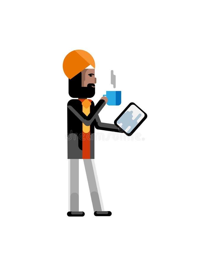 Indiański biznesmen z pastylka komputerem royalty ilustracja