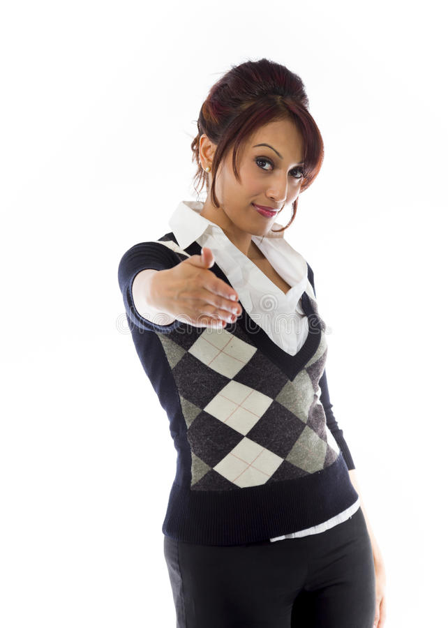 Download Indiański Bizneswoman Daje Ręce Dla Uścisku Dłoni Odizolowywającego Na Białym Tle Zdjęcie Stock - Obraz złożonej z życzliwy, optymistycznie: 41950892