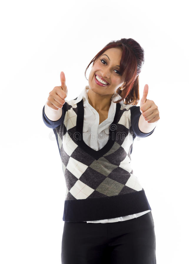 Download Indiański Bizneswoman Pokazuje Aprobaty Od Oba Ręk Odizolowywać Na Białym Tle Zdjęcie Stock - Obraz złożonej z satysfakcja, przód: 41950946