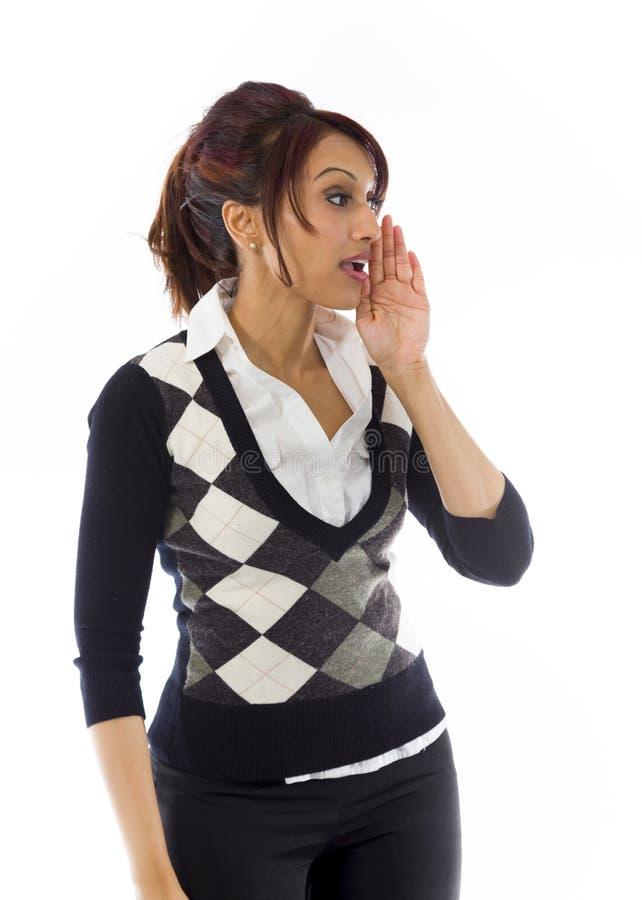 Download Indiański Bizneswoman Szepcze Wiadomość Odizolowywającą Na Białym Tle Zdjęcie Stock - Obraz złożonej z strona, cenzura: 41950992