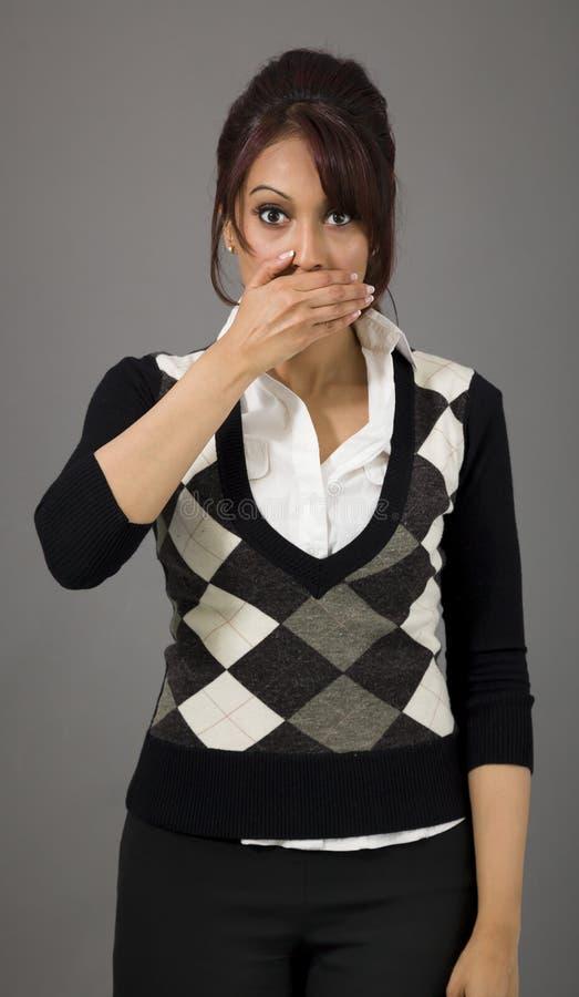 Download Indiański Bizneswoman Z Oddawał Jej Usta Obraz Stock - Obraz złożonej z human, cisza: 41950837