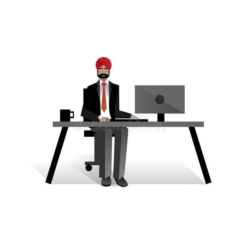 Indiański brodaty biznesmen pracuje przy komputerem ilustracji