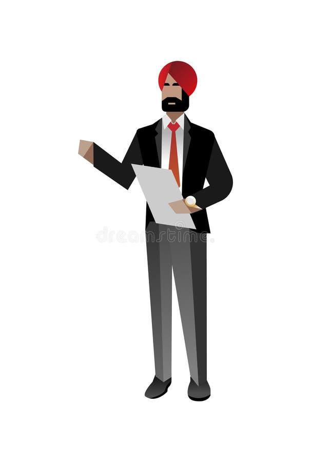 Indiański brodaty biznesmen z czek listą ilustracja wektor