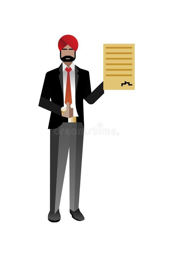 Indiański brodaty biznesmen z kciukiem up ilustracja wektor