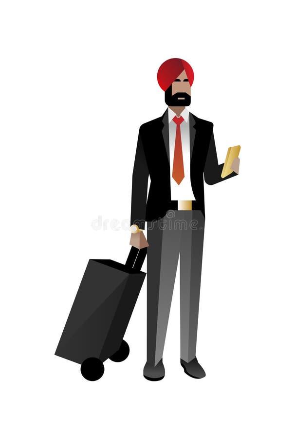 Indiański brodaty biznesmen z podróży torbą ilustracja wektor