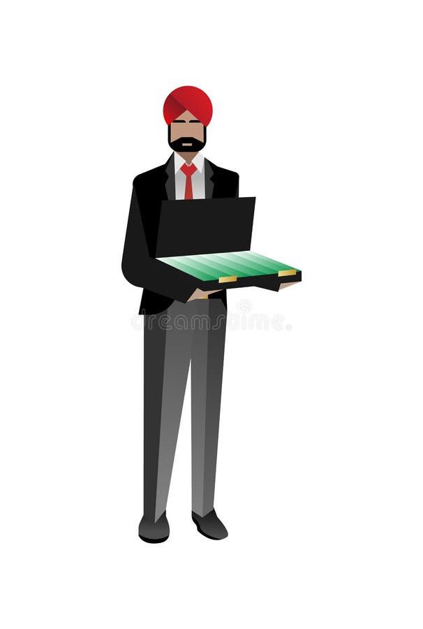 Indiański brodaty inwestor z otwartą walizką ilustracji