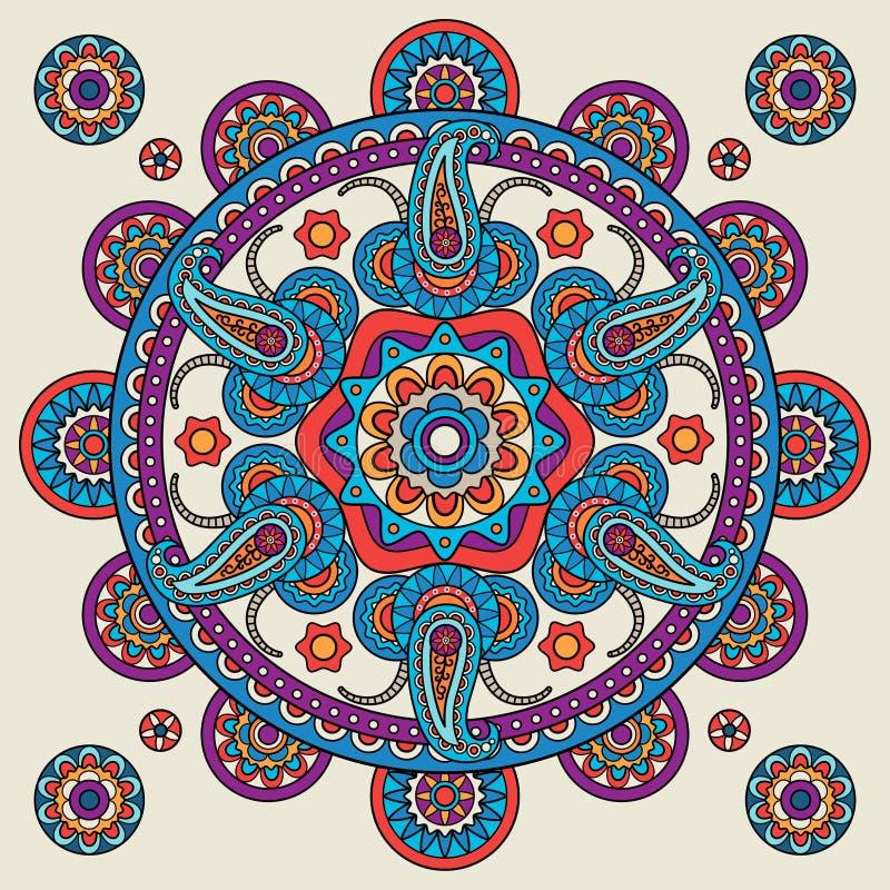 Indiański doodle Paisley boho mandala ilustracji
